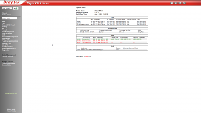Interface de gestion Vigor 2912n